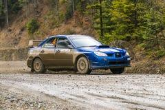 汽车品牌的没有的Subaru Impreza WRX未知的竟赛者 4 overco 库存照片