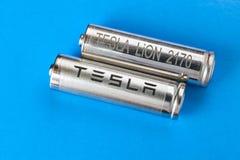 汽车品级对特斯拉的锂离子电池 免版税库存照片