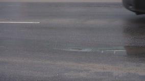 汽车在与试剂的肮脏和湿沥青,慢动作,背景驾驶 股票视频