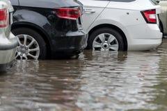汽车在大雨和洪水以后的水中 库存图片