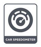汽车在时髦设计样式的车速表象 汽车在白色背景隔绝的车速表象 汽车车速表简单传染媒介的象 库存例证