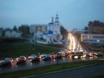 汽车在晚上,喀山 免版税库存图片