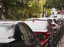 汽车在街道上荡桨在堵车或停放 库存图片