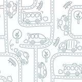汽车堵塞公路交通 无缝的模式 向量例证