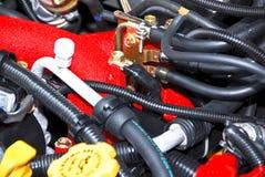 汽车复杂发动机零件 免版税图库摄影