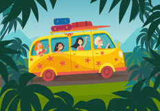 汽车夏天旅行传染媒介例证 愉快的人暑假 库存图片