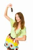 汽车她的藏品锁上妇女 免版税库存照片