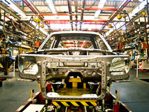 汽车小室在焊接集合line2的 图库摄影
