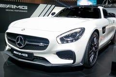 汽车展示会,显示他们的史诗新的汽车_AMG GT的奔驰车角落 库存图片