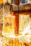 汽车工业的焊接 免版税库存图片