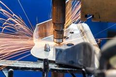 汽车工业的焊接 免版税库存照片