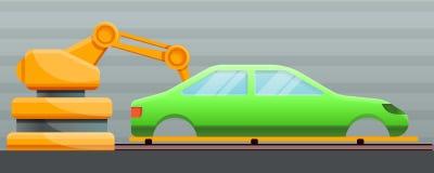 汽车工厂概念横幅,动画片样式 向量例证
