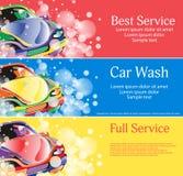 汽车干净的水管设备海绵洗涤 一套您的设计的横幅 向量 皇族释放例证