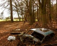 汽车废弃的被倾销的森林地 免版税库存图片
