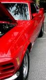汽车异乎寻常的镜子红色端炫耀视图 免版税库存图片
