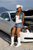 汽车性感的妇女 免版税图库摄影