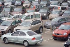 汽车批次停车 免版税图库摄影