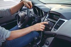 汽车控制台控制板电子仪器航海 无线电特写镜头 库存照片