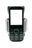 汽车摩托车和自行车的普遍电话持有人有安装的黑屏简单的电话的 背景查出的白色 免版税库存图片