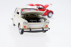 汽车故障,仿效与两辆玩具汽车 免版税库存照片