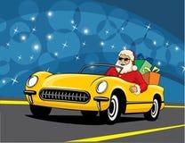 汽车敞篷车圣诞老人 免版税库存图片