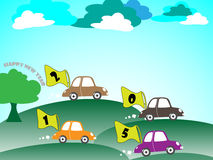 汽车新年好动画片 免版税库存图片