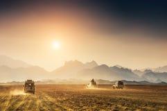 汽车旅行在沙漠 库存照片