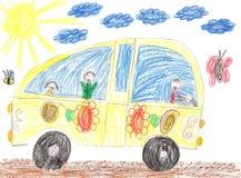 画汽车旅行的孩子 库存照片