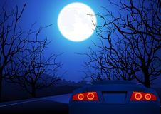 汽车晚上路体育运动 图库摄影