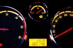 汽车有启发性仪器晚上面板 免版税图库摄影