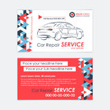汽车服务业卡片模板 汽车诊断和运输修理 库存照片