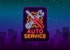 汽车服务修理商标传染媒介,霓虹灯广告象征 导航例证,汽车修理,车库的发光的牌汽车的 免版税库存图片