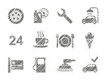 汽车服务象,遮蔽铅笔,灰色,传染媒介 免版税库存照片