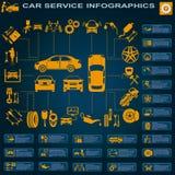 汽车服务,修理Infographics 库存例证