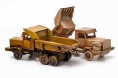 汽车木式样玩具,两辆卡车 库存照片