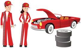 汽车机械师和赛车 免版税库存照片
