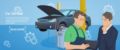 汽车机械师服务横幅  碗汽车推力增强的油替换服务 服务站 维护汽车修理和工作 库存图片