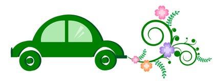 汽车概念eco电绿色杂种 免版税图库摄影