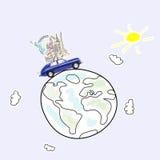 汽车欧洲映射玩具旅行 库存照片
