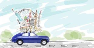 汽车欧洲映射玩具旅行 免版税库存照片