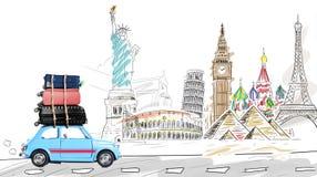 汽车欧洲映射玩具旅行 免版税图库摄影