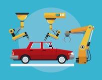 汽车汇编工业机器人生产线 免版税库存照片