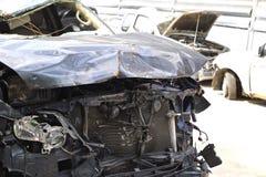 汽车汽车极大冲突的失败有高速公路被冰的速度 库存照片