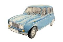 汽车法国老纸水彩 免版税库存图片
