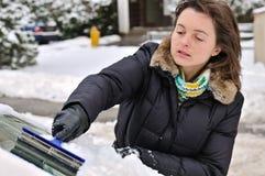 汽车清洁人员时间冬天 免版税库存图片