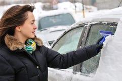 汽车清洁人员时间冬天 免版税库存照片