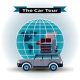 汽车游览的概念环球 向量例证