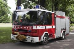 汽车火在布拉格 库存照片