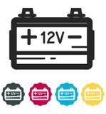 汽车电池象-例证 免版税库存照片
