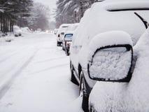 汽车白色雪多雪的干燥树反映scanic路的道路 库存图片